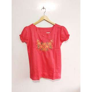 Salmon Colored Top with Embroidery