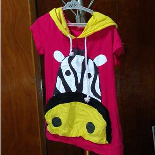 Pink and Yellow Graphic Shirt with Hoodie and Kawaii Zebra Design