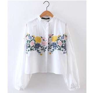 BNIB Long-sleeved Embroidered Blouse In White