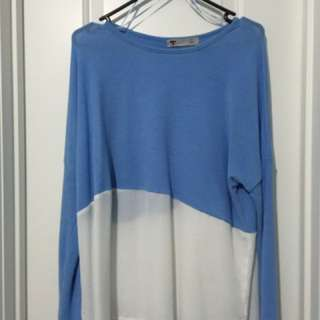 Block White And Blue Long Sleeved Too