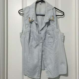 Denim Top With Detailed Collar
