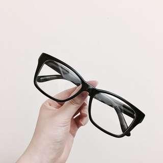 全新✨無度數抗UV黑框眼鏡