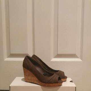 Peep toe Cork Wedge Heels