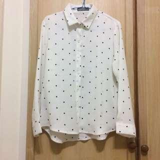 Queen Shop雪紡點點襯衫#兩百元雪紡