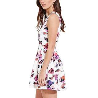 White floral watercolor print dress Brand New Medium
