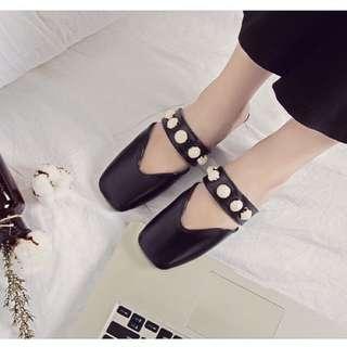 👡珍珠平底拖鞋