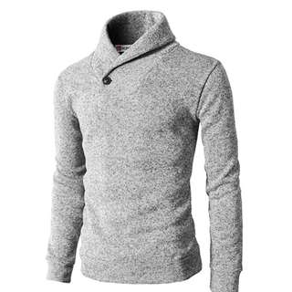 H2H Mens Knitted Slim Fit Pullover Sweater Shawl Collar With One Button