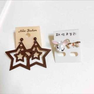 韓國 星星 兔子耳環