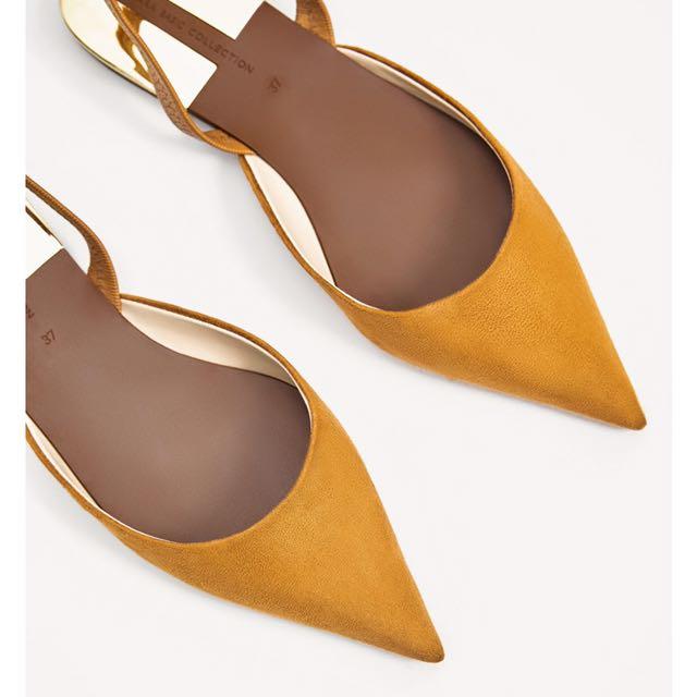 尖頭麂皮平底鞋