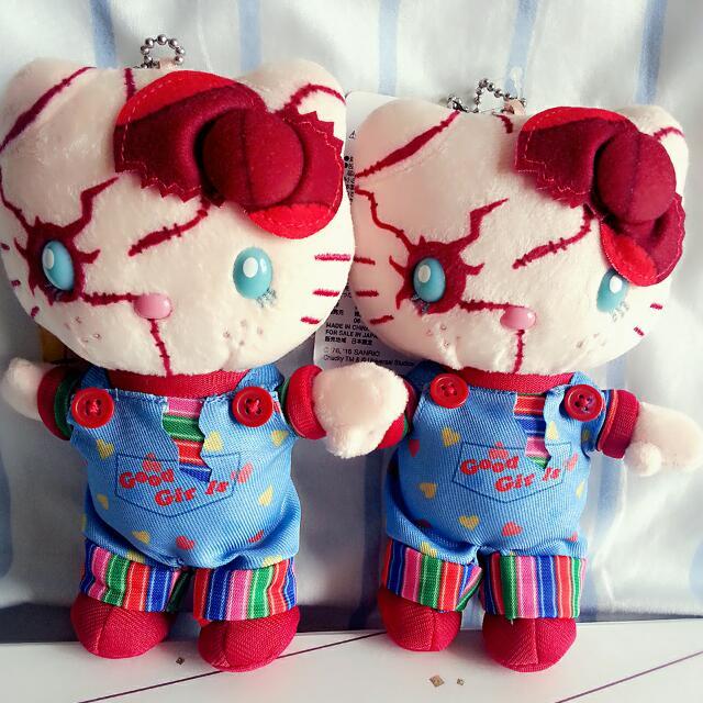 日本大阪環球影城絕版正品 kitty 凱蒂貓X鬼娃恰吉 限定款娃娃玩偶吊飾