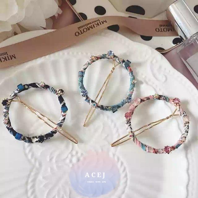 ACEJ正韓簡約圓形圈圈水鑽純色/碎花布瀏海夾髮夾髮飾髮卡頭飾-現貨+預購
