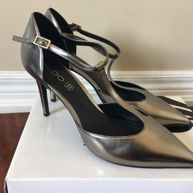 Aldo Women's Grey/silver Strap High Heels