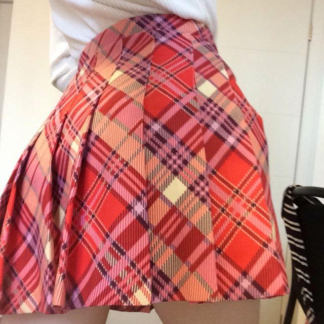 American Apparel pink plaid tennis skirt