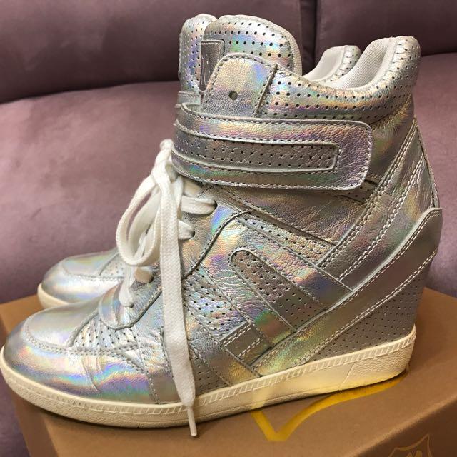 ASH 銀色內增高球鞋39號