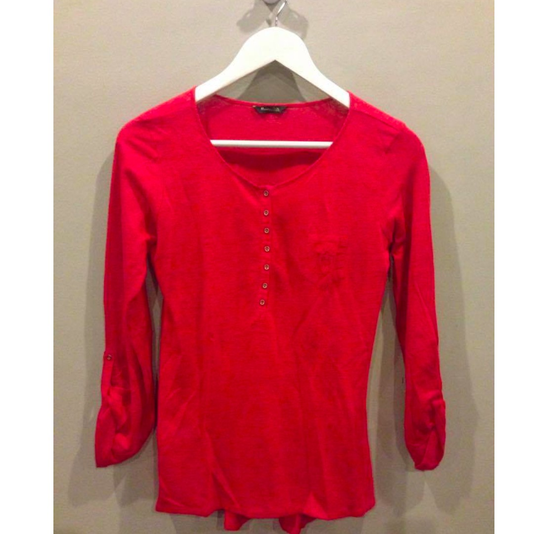 Authentic Massimo Dutti Red Knit Top
