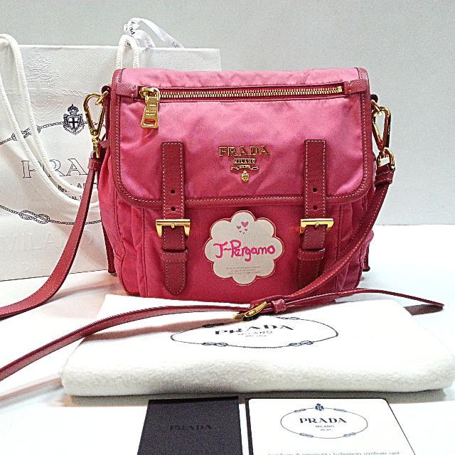 Authentic Prada BT0692 Tessuto+Saffiano Peonia Sling Bag    Only For ... 93813958a35ce