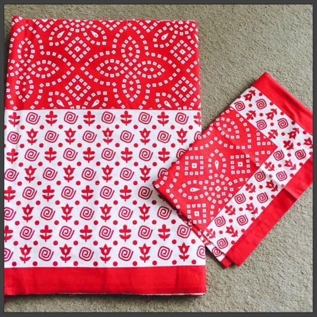 Bandhani Printed Indian Fabric Bedsheets Sets, Home U0026 Furniture, Home Decor  On Carousell