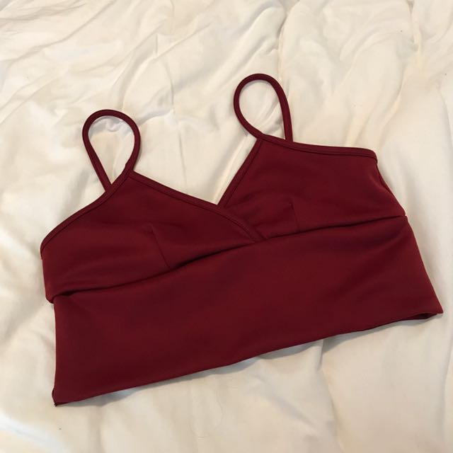 Berry Red V Neck Crop