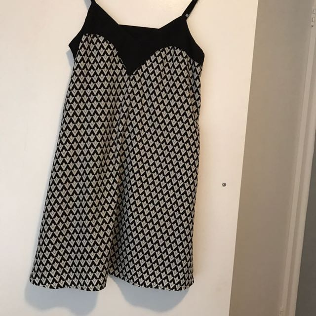 Black White Geo Pattern Slip Style Dress