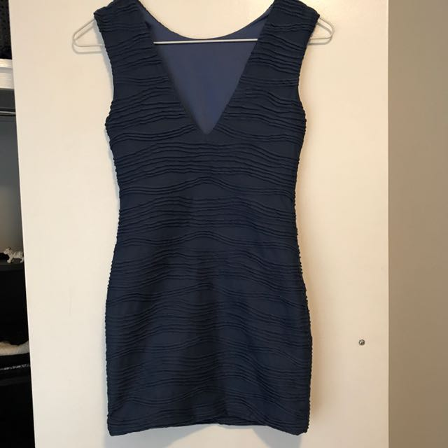 Blue Bodycon Tight Dress With Texture Detail