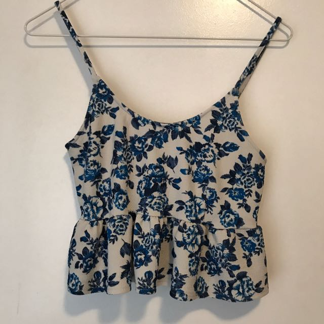 Blue White Floral Peplum Crop