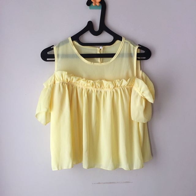 Cold Shoulder Yellow Top