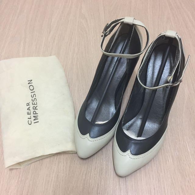 全新日本品牌clear impression 法式拼接優雅真皮尖頭細根高跟鞋