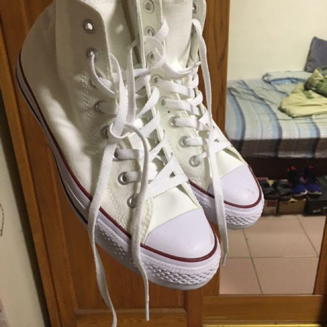 Convers 帆布鞋 白 高筒