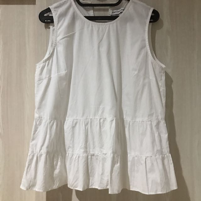 Cotton Ink white peplum top