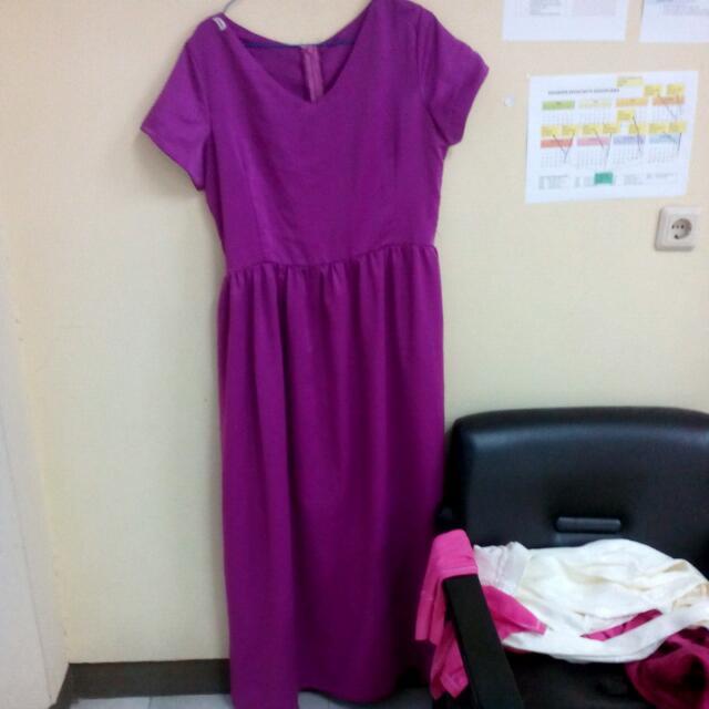 Dress Gamis Gaun Panjang Magenta