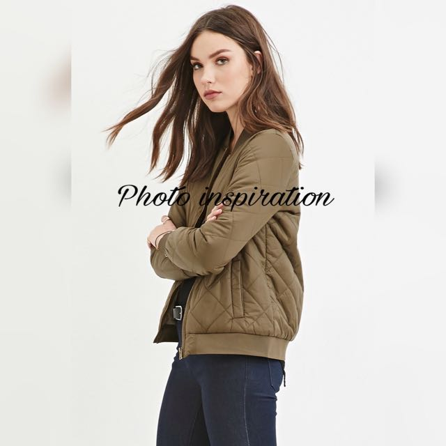48290a6d1 Forever 21 Quilted Bomber Jacket in Army Green on Carousell