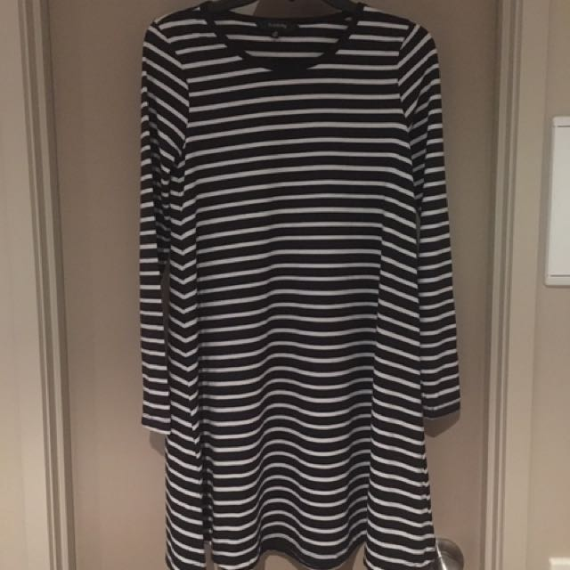 Glassons Stripe Dress Black And White