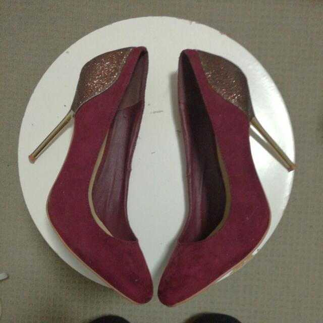 Glittery Maroon Heels