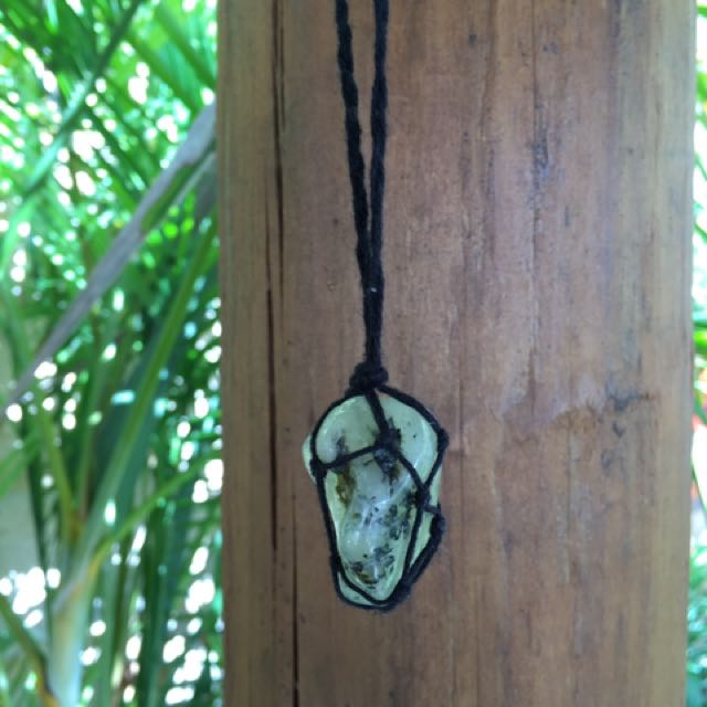 Handmade Macrame Boho Necklace Jade Like Stone Rope