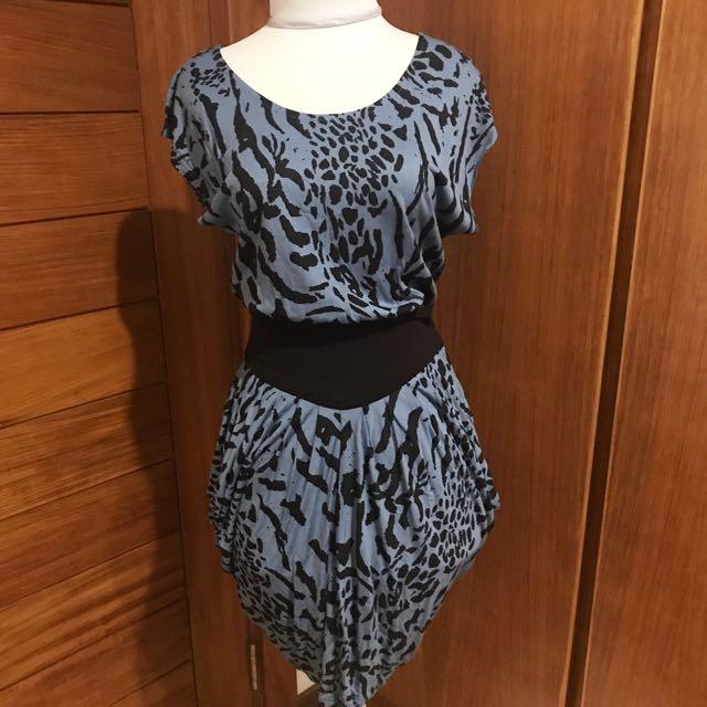 H&M Blue Asymmetrical Dress with Leopard Pattern