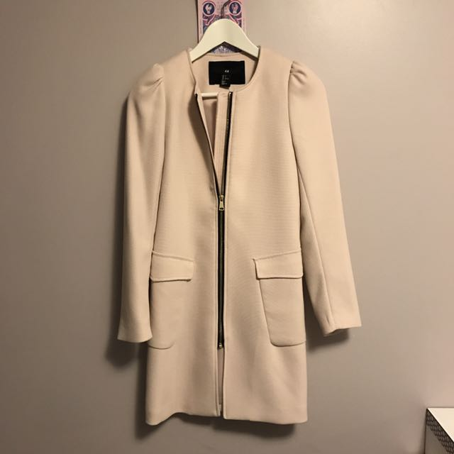 HM Pink Blush Spring Coat With Zipper