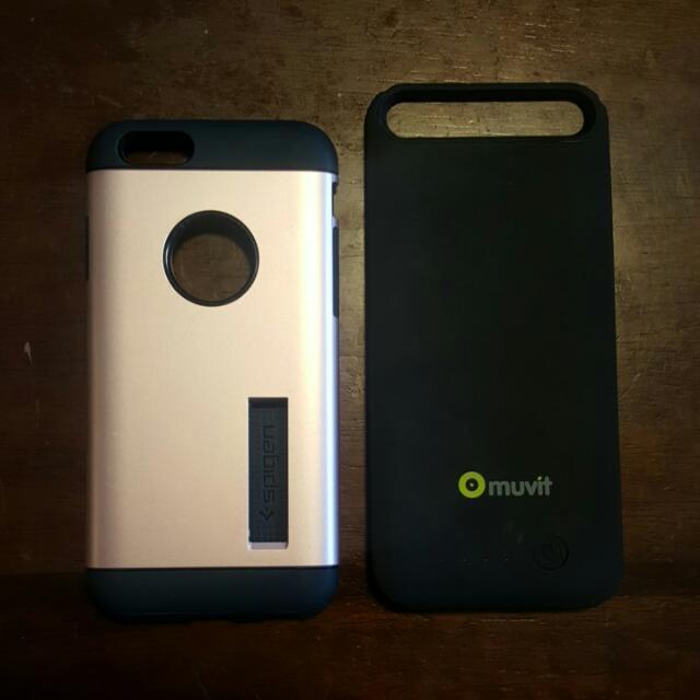 Iphone 6 Cases ( portable charger case + spigen case)