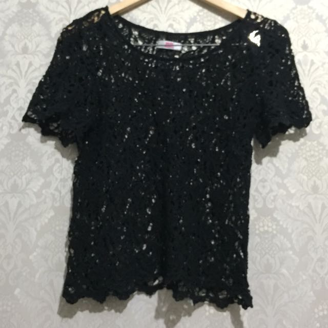 Knit Brokat Top - Atasan Blouse Rajut Hitam Black