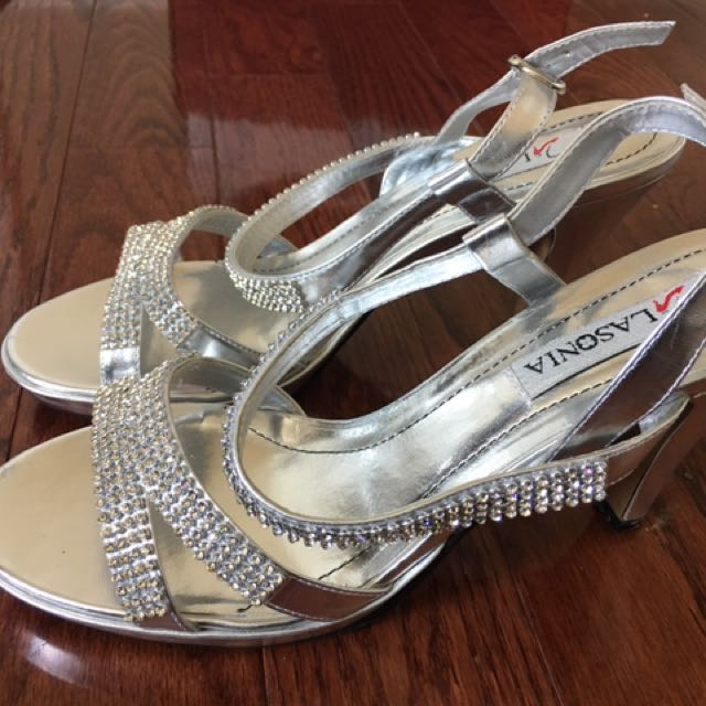 Lasonia Women's Silver Studded High Heels