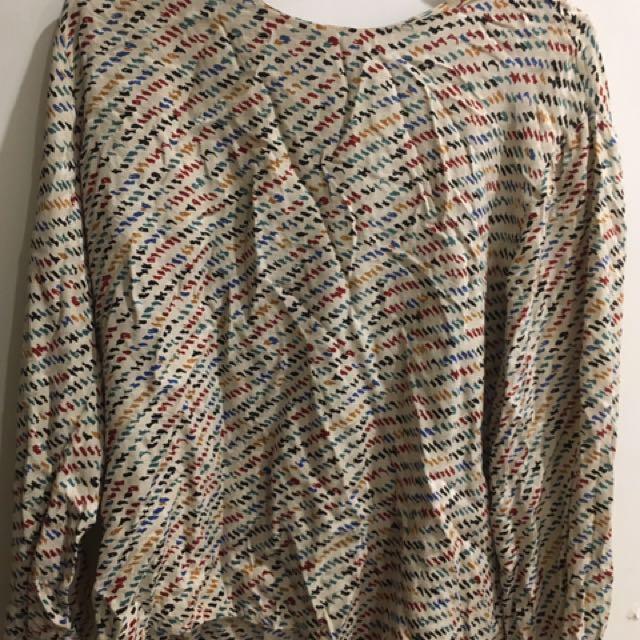 Long sleeve vintage silky top/ blouse