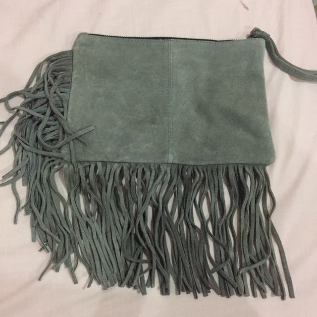 Mango Ruffled Clutch Bag