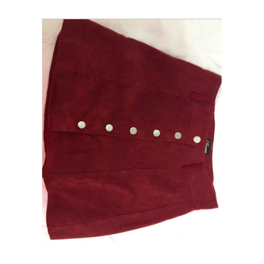 MAROON BUTTON UP VINAL SKIRT