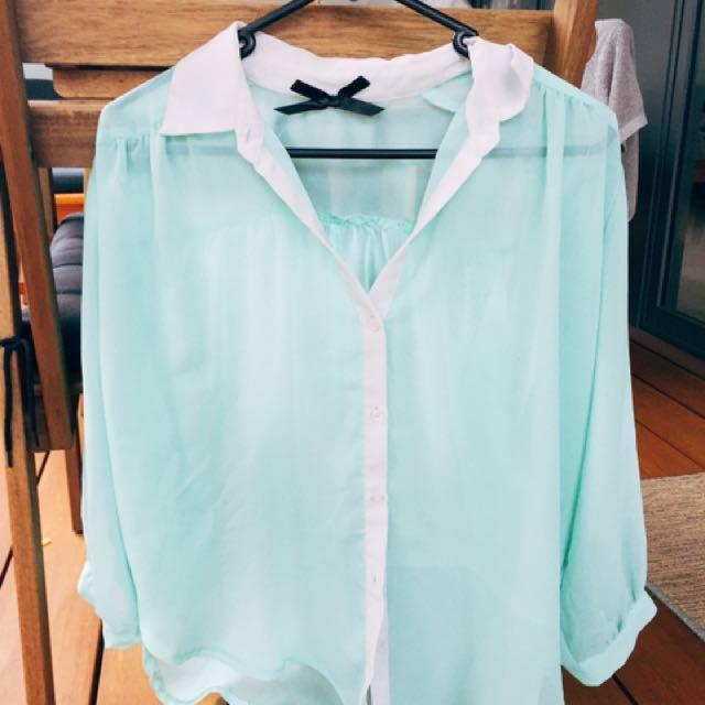Mint Sheer Button Up Long Sleeve