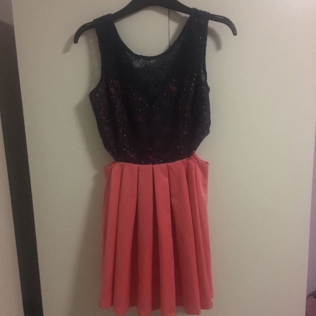 Navy Lace And Coral Dress