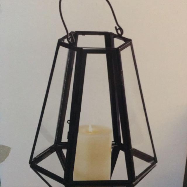 New Large Black metal & Glass Hanging Patio Lantern