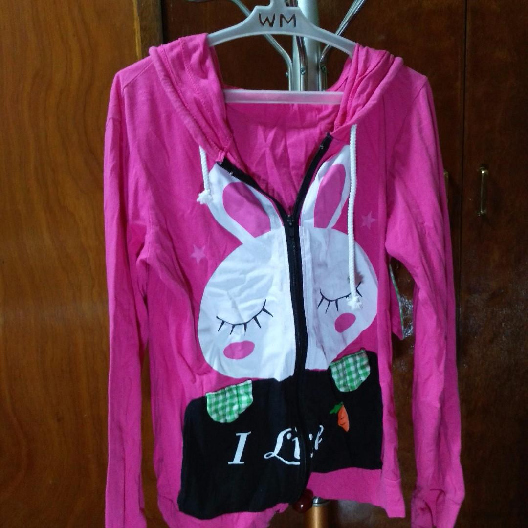 Pink Jacket with Kawaii Rabbit Design