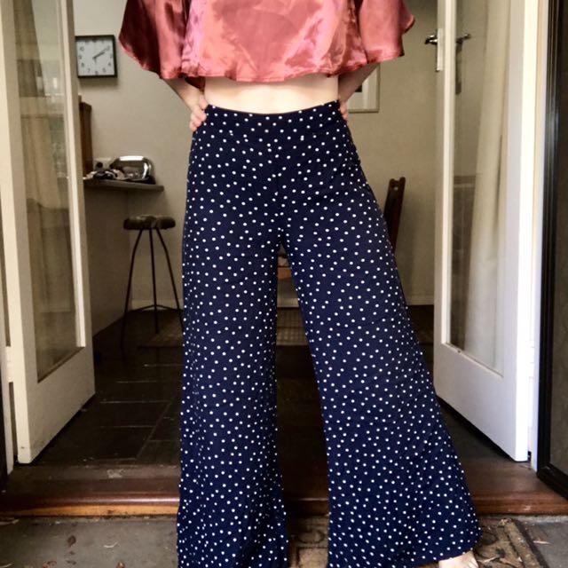 Polka Dot Wide Leg High Waisted Pants
