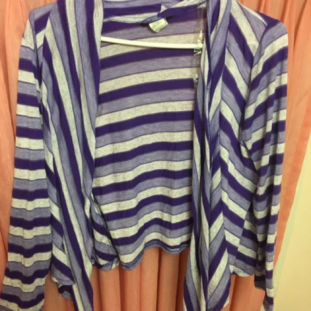 Purple And White Striped Sweater