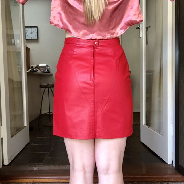 Red Leather Mini Skirt