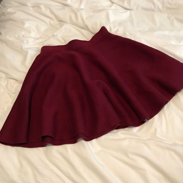 Showpo Berry Red Skeeter Mini Skirt Knit Winter